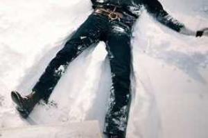 лежащий на снегу