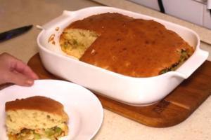 Заливной пирог с капустой на скорую руку