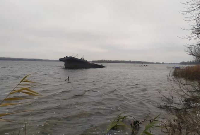 баржа затонула
